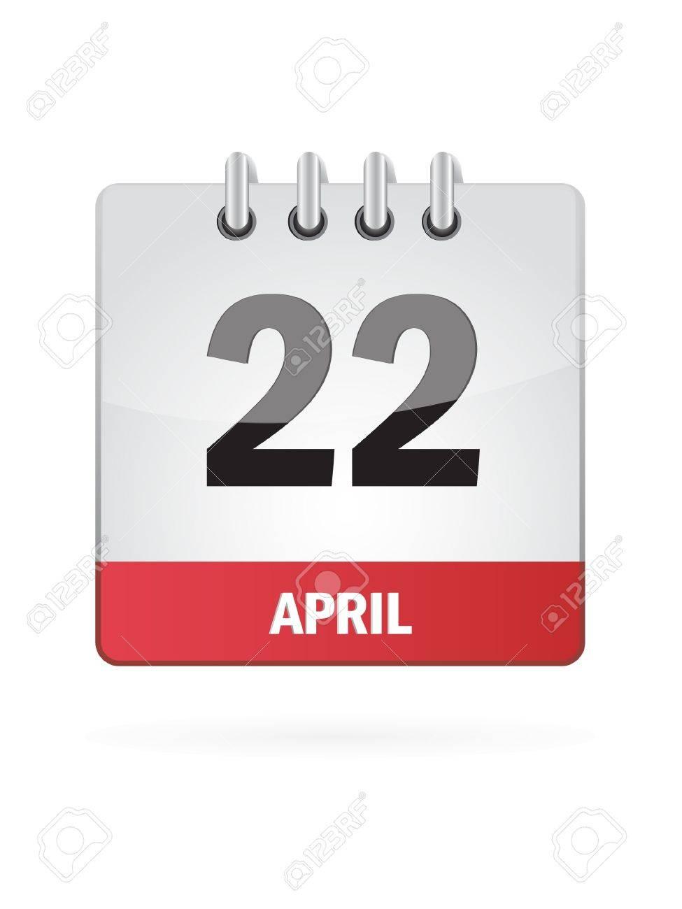 22 April Calendar Icon On White Background Stock Vector - 17882938