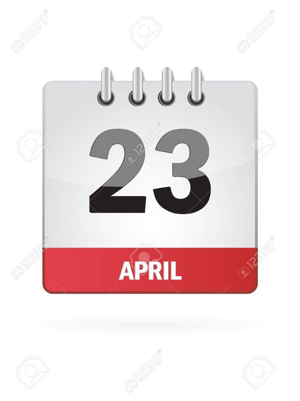 23 April Calendar Icon On White Background Stock Vector - 17883079