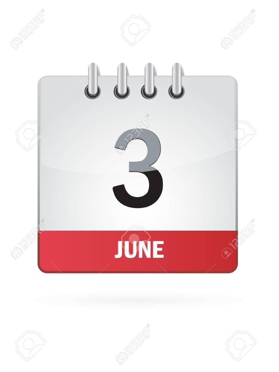 3 June Calendar Icon On White Background Stock Vector - 18456983