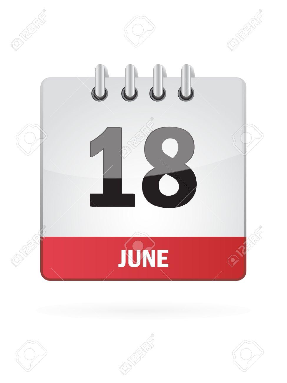 18 June Calendar Icon On White Background Stock Vector - 18457024
