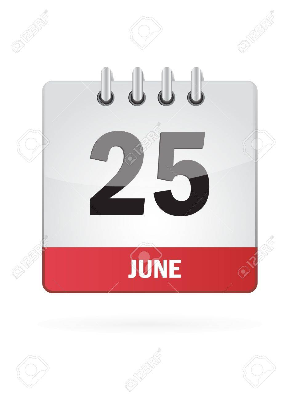 25 June Calendar Icon On White Background Royalty Free Cliparts ...