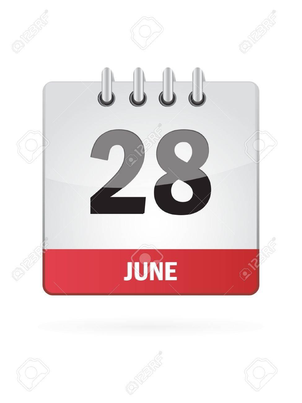 28 June Calendar Icon On White Background Stock Vector - 18457029