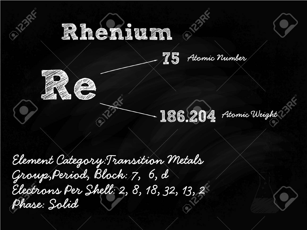 Rhenium Symbol Illustration On Blackboard With Chalk Stock Vector - 22205226