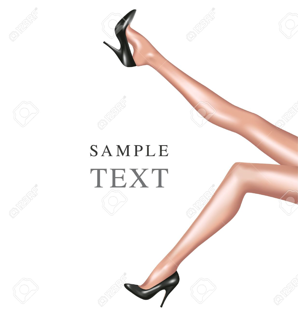 sexy woman legs with black shoes Stock Vector - 10478084