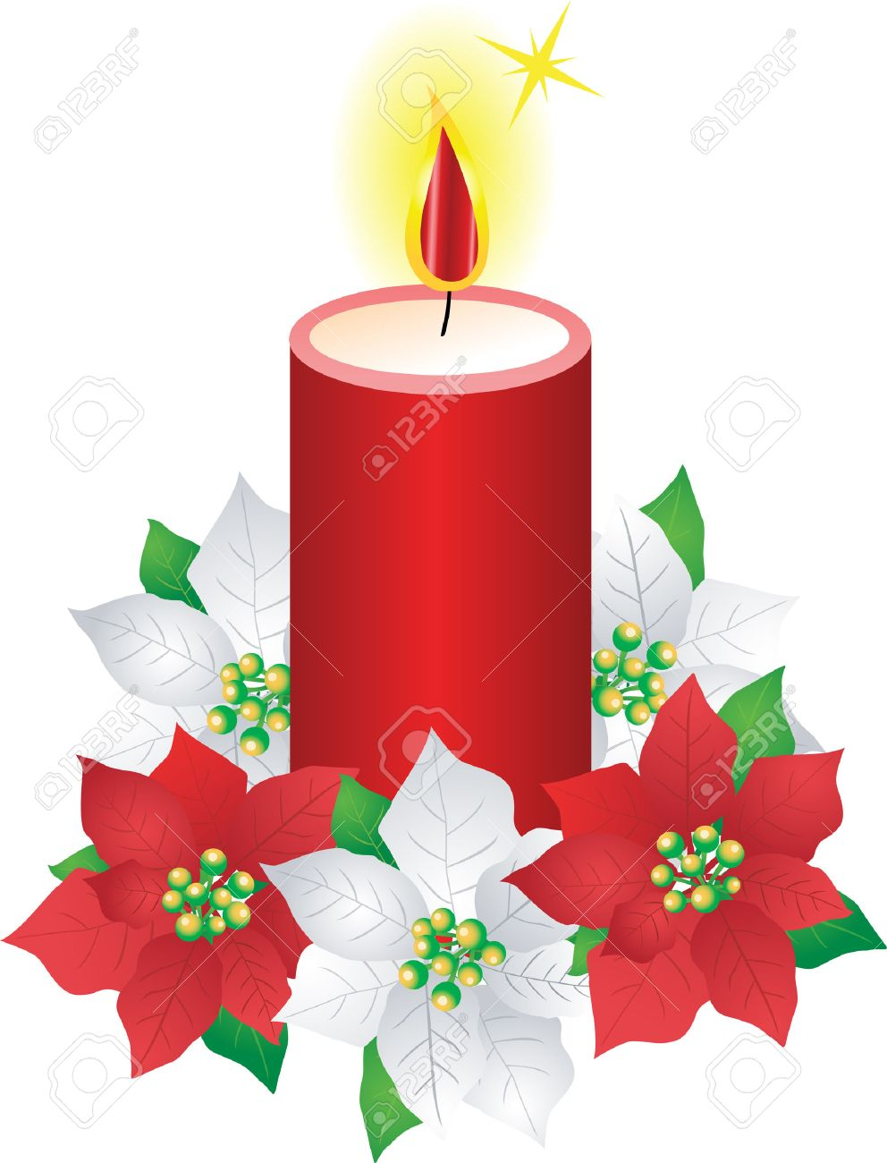 Christmas Candle And Poinsettia Flowers Royalty Free Cliparts ...