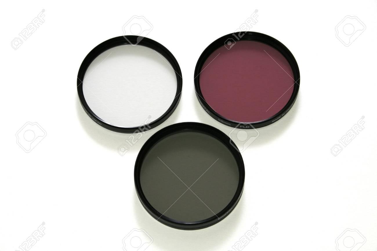 Three photographic filters for digital camera: UV, FLD and circular polarizing - 503055