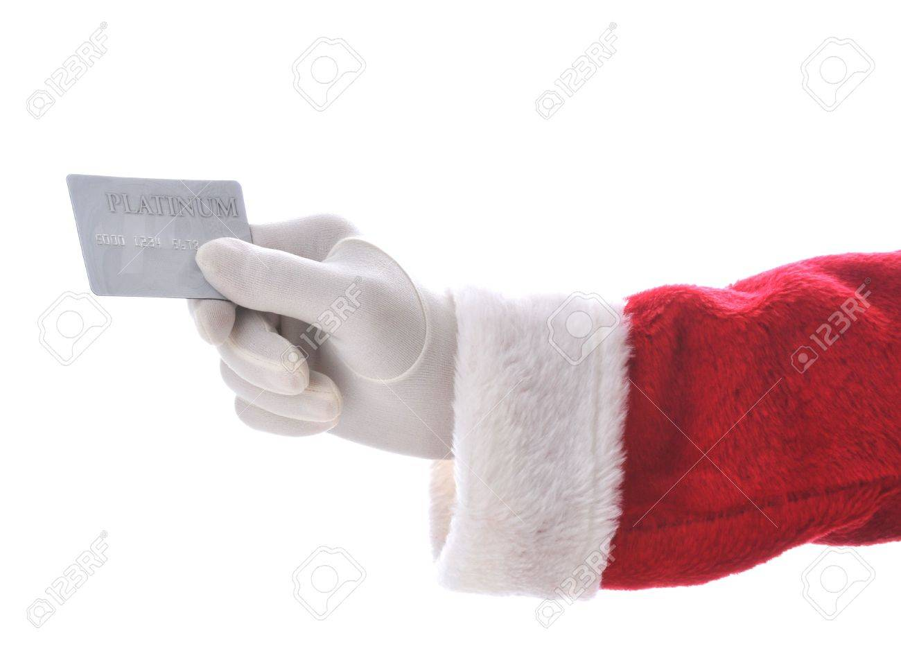 Santa Holding Christmas Ornament Isolated Over White - Hand And ...