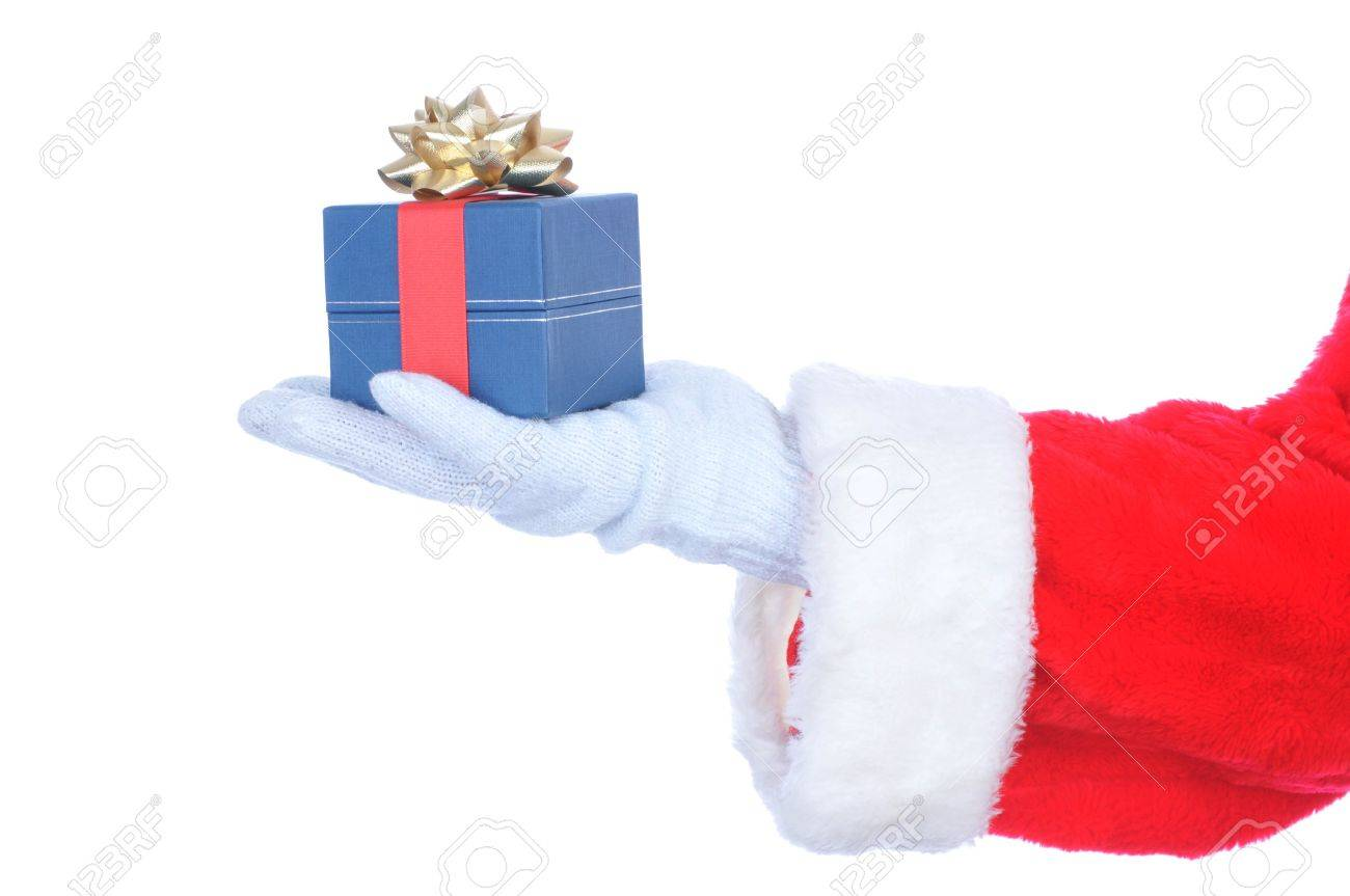 Santa Hand Holding Red Ornament Stock Image - Image: 27929981