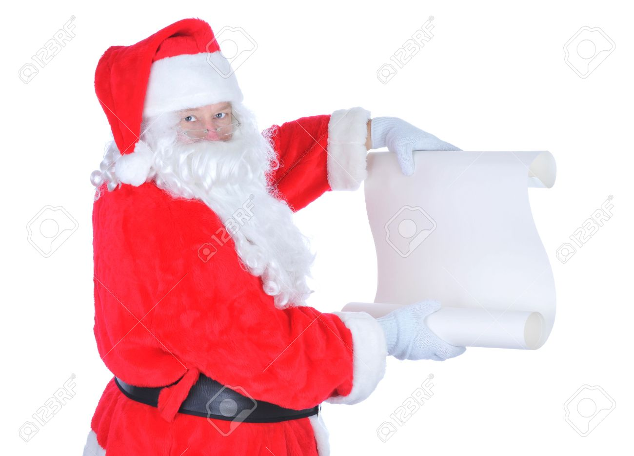 Santa Claus Holding Blank Naughty List isolated on white Stock Photo - 5202792