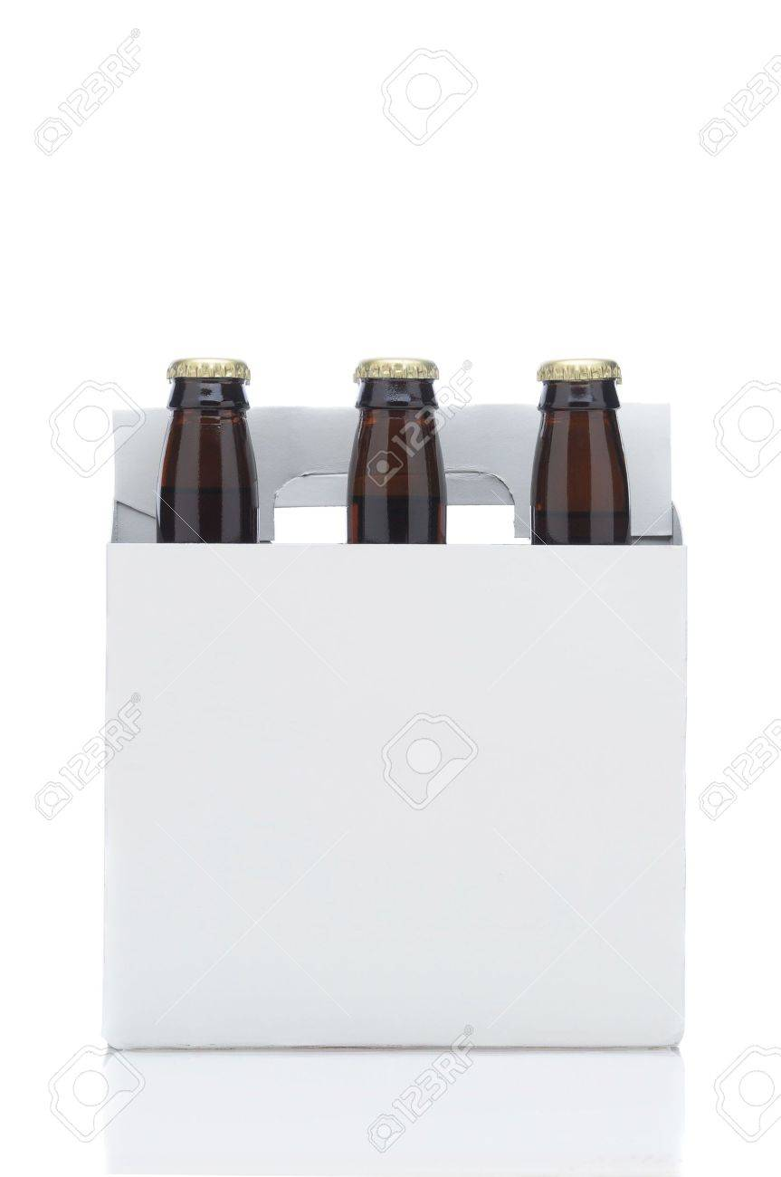 Side View of a Six Pack of Brown Beer Bottles in Cardboard Carrier isolated on white with reflection vertical format Stock Photo - 6710912