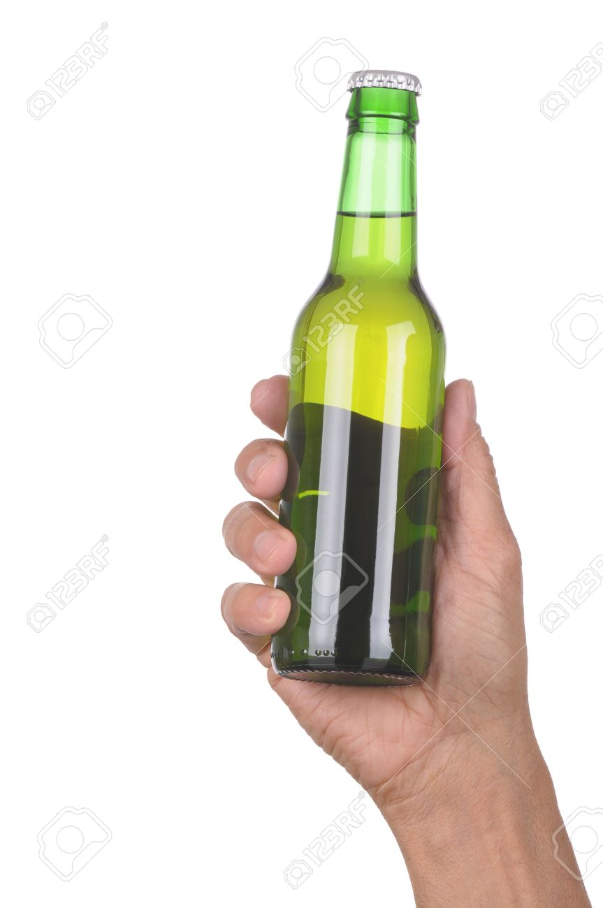 Man's hand holding up a green beer bottle without label over a white background vertical format Stock Photo - 6710971