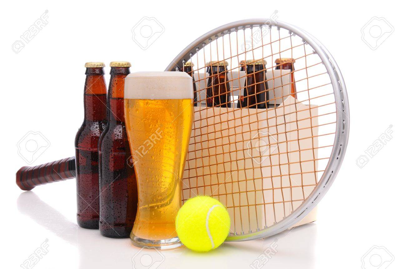 Six pack of beer and frothy glass with a tennis racket and ball in front. Horizontal format isolated on white with reflection. Stock Photo - 9207540