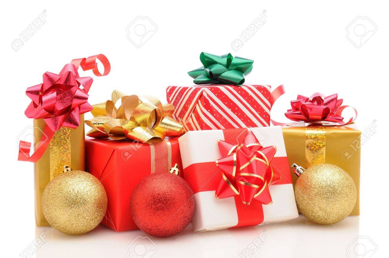 Group Of Wrapped Christmas Presents With Tree Ornaments On A.. Stock ...