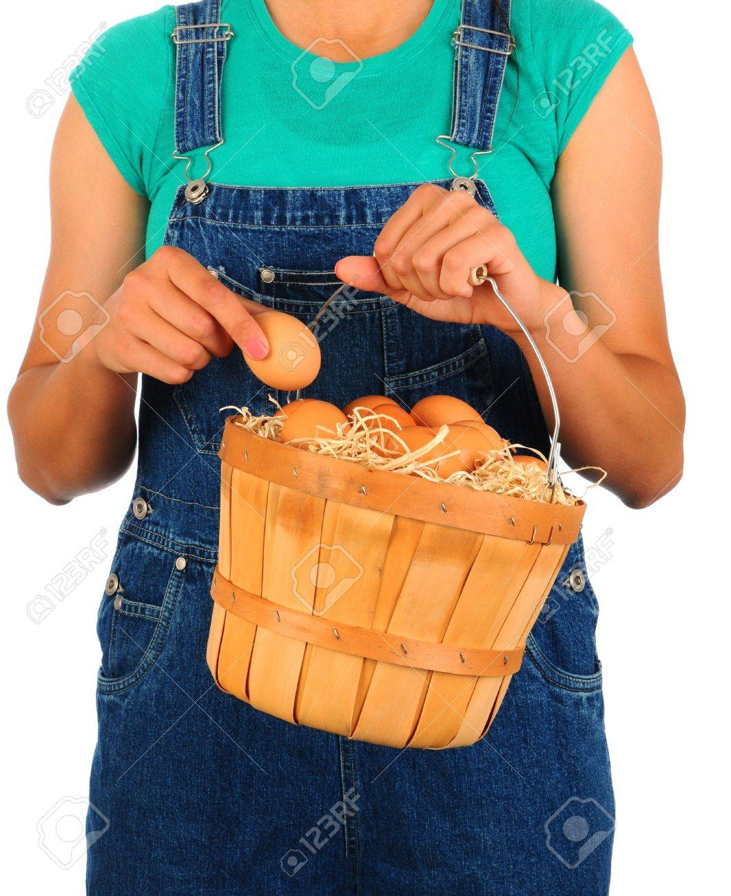Closeup of a Farm Girl putting a fresh picked egg into a basket held in front of her body. Girl is wearing overalls and a t-shirt and is unrecognizable. Stock Photo - 13877952