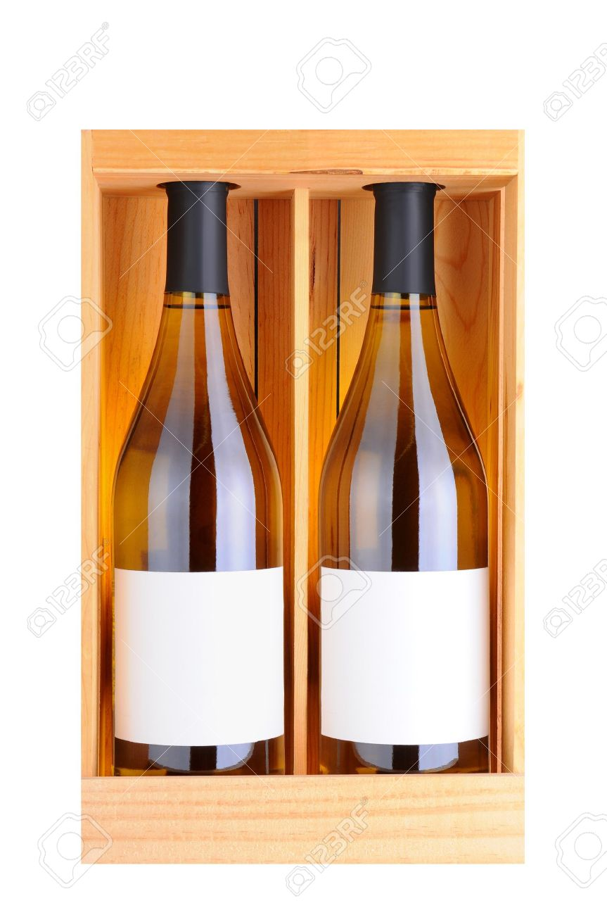 Two white wine bottles in a wooden gift case, isolated on white. Vertical Format. Stock Photo - 16856880
