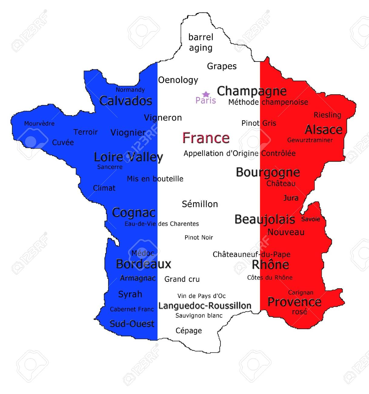 Calvados France Map.Map Of France Showing The Different Wine Appellations And Various