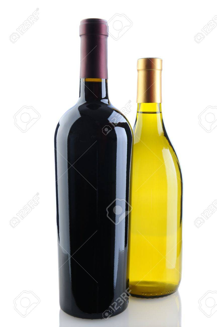 Close up of a cabernet sauvignon and chardonnay wine bottles on a white background with reflection. Chardonnay bottle is tucked behind the Cabernet bottle. Vertical Format. Stock Photo - 17212273