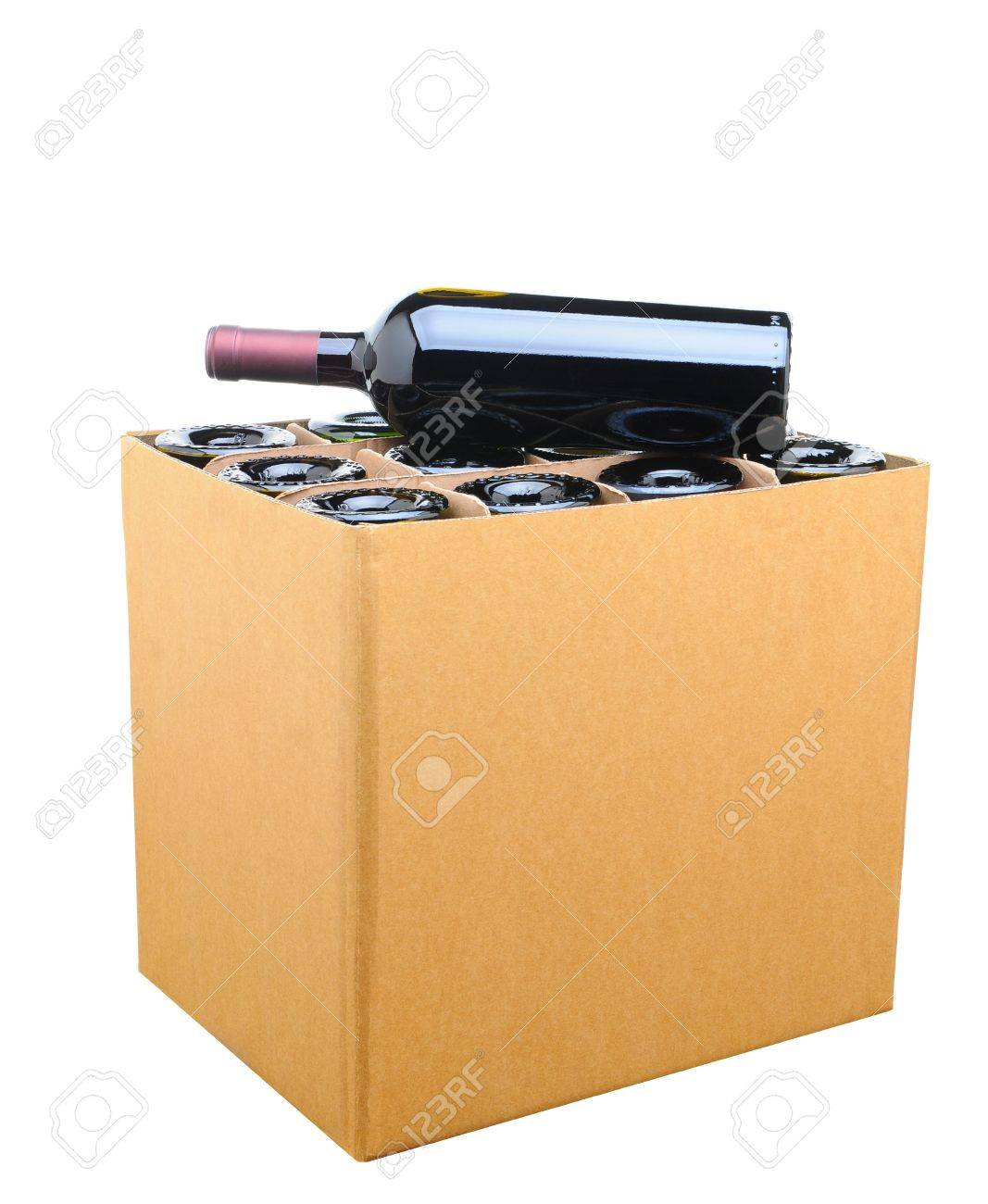 Closeup of a case of wine with one bottle resting on top. Isolated on white. Stock Photo - 17212272