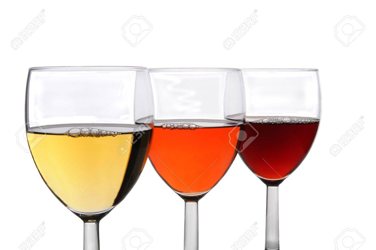 Three different glasses of wine on a white background. Chardonnay, White Zinfandel, and Cabernet Sauvignon wines in three overlapping wineglasses. Stock Photo - 17212277