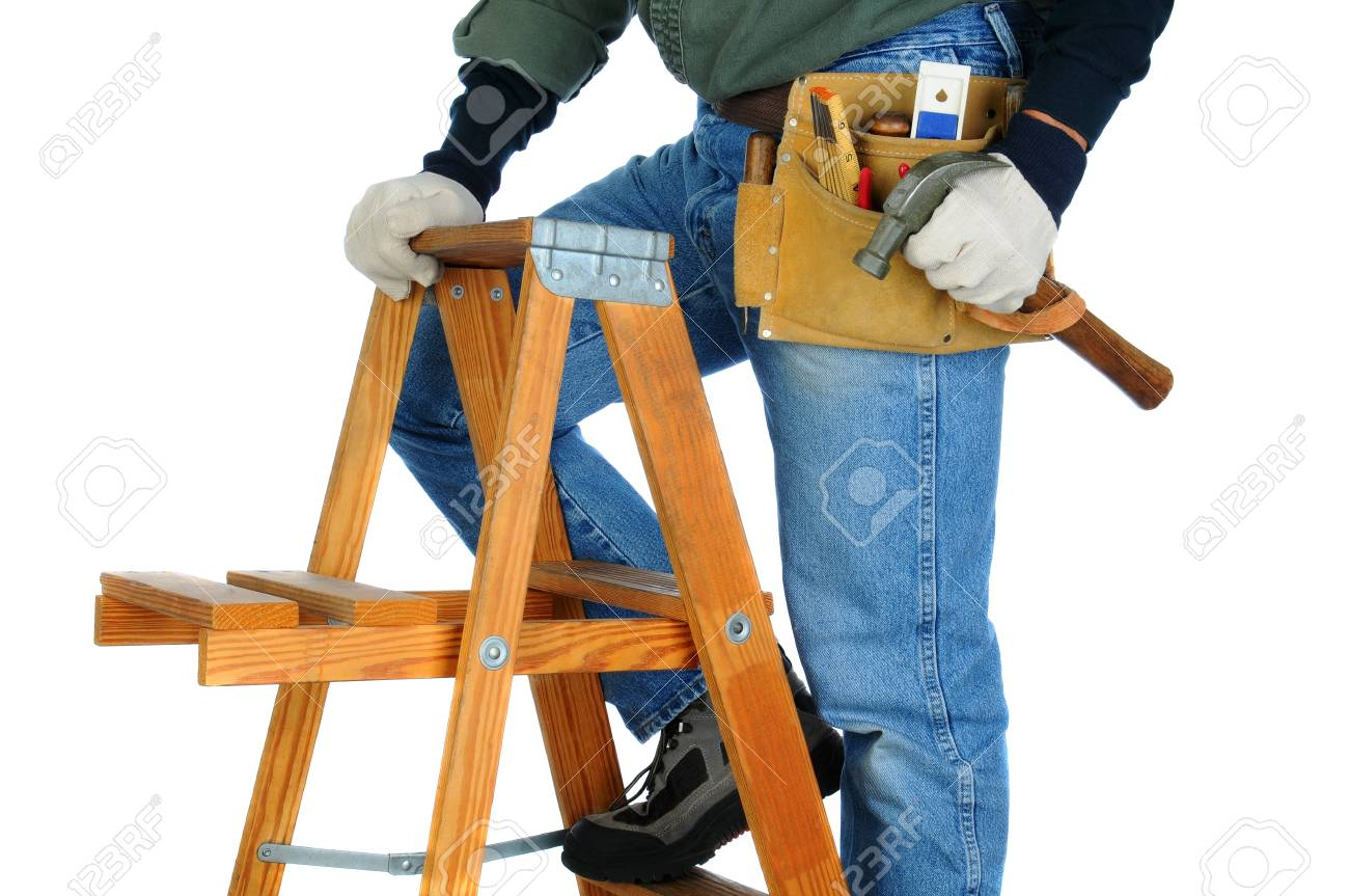Closeup of a construction worker climbing a ladder with a hammer in his hand. horizontal format on a white background. Man is unrecognizable. Stock Photo - 18589862
