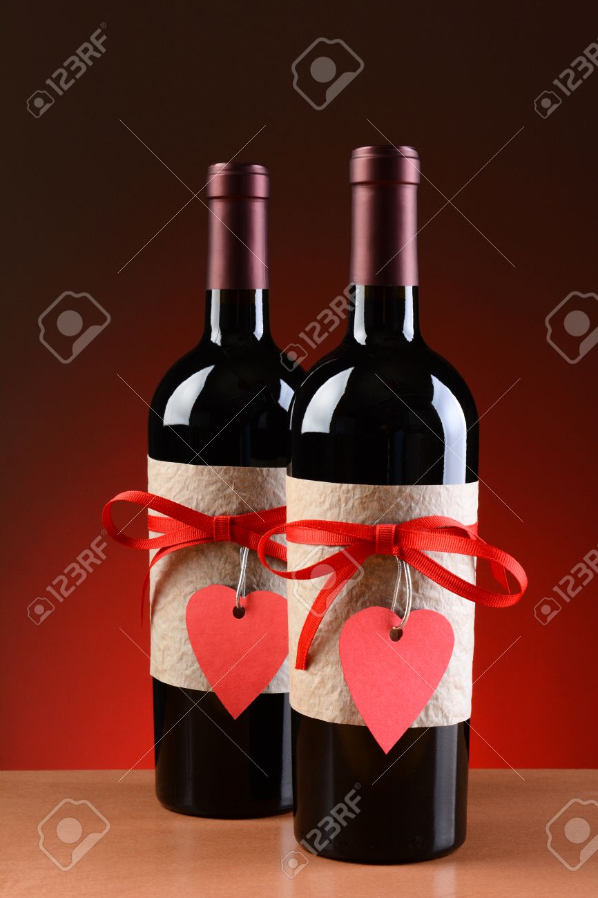 Closeup Of A Wine Bottles Decorated For Valentines Day Both Stock