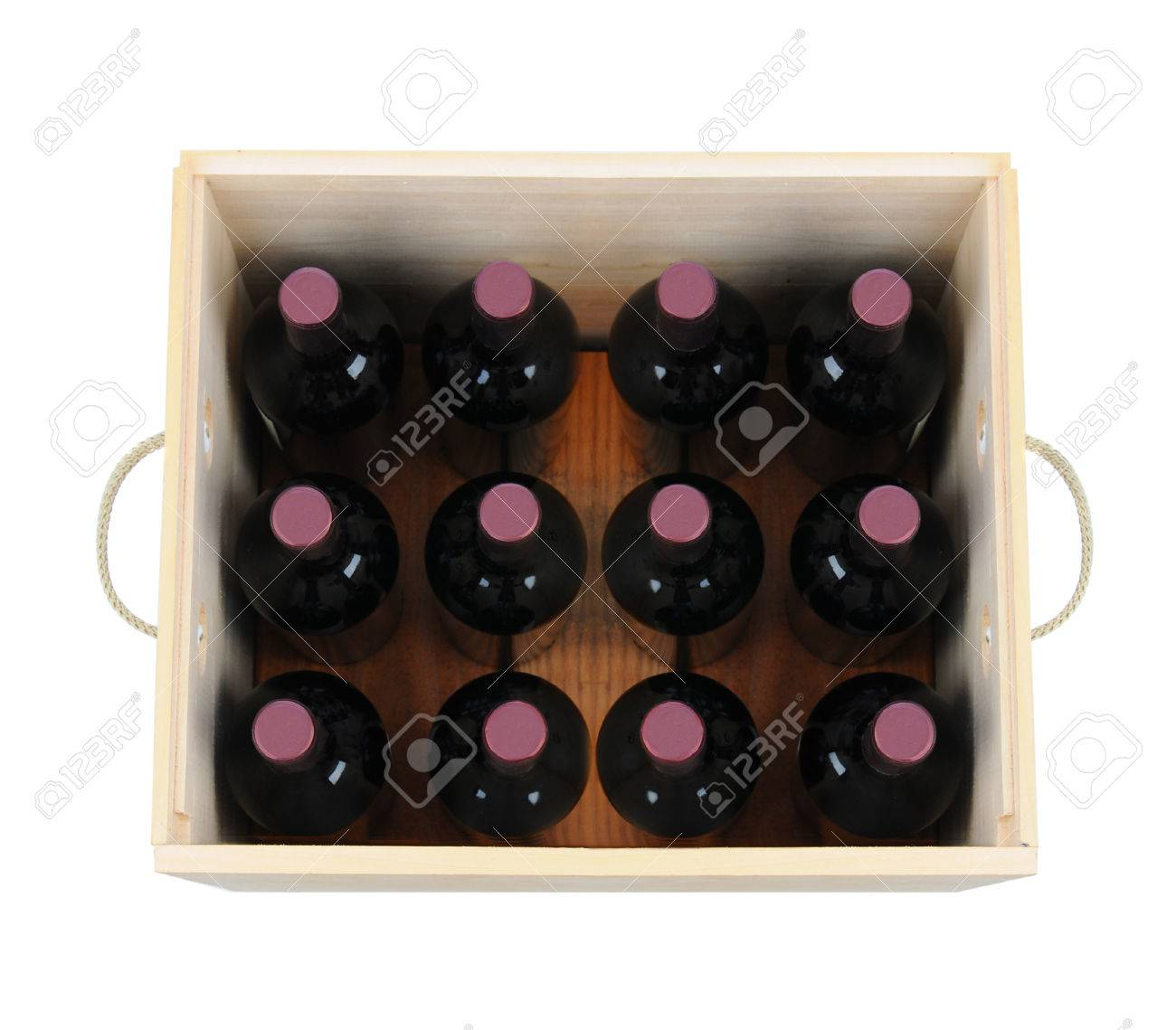 A Wooden Wine Case With Twelve Bottles High Angle Shot Looking