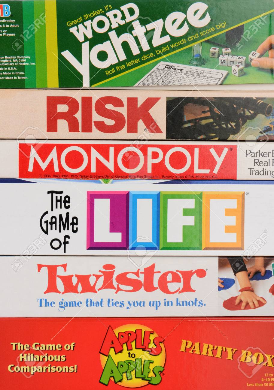 IRVINE, CA - MAY 19, 2014: A stack of Family Board Games  Classic