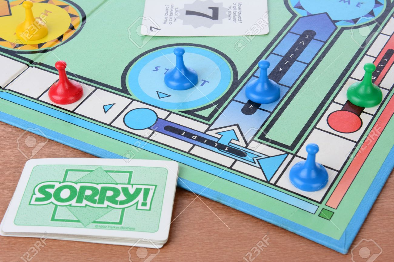 Irvine Ca May 19 2014 Sorry Board Game Closeup Sorry Stock
