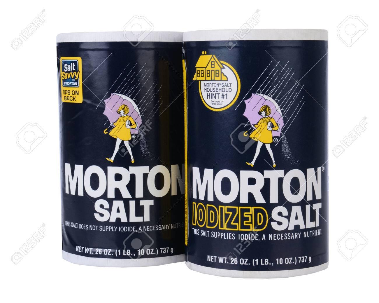 IRVINE, CA - February 06, 2013: Two Boxes of Morton Salt, one