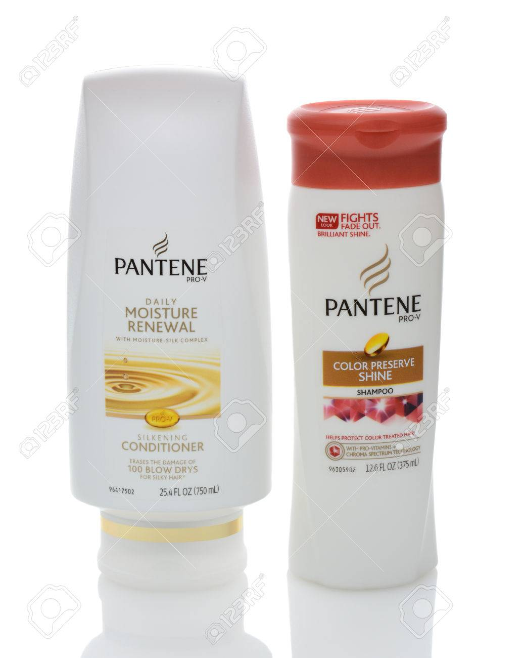 IRVINE, CA - DECEMBER 12, 2014: Two bottles of Pantene Hair Care Products. Introduced in Europe in 1947 by Hoffmann-La Roche of Switzerland, the name based on panthenol as a shampoo ingredient. - 35313086