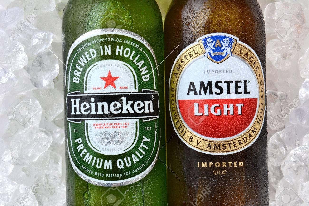IRVINE, CA   JANUARY 12, 2015: A Bottle Of Amstel Light And Heineken