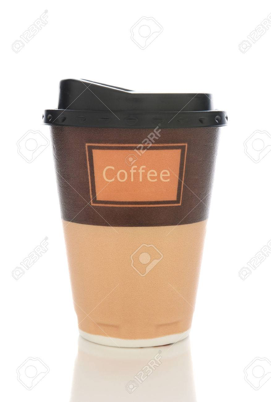 Closeup of a styrofoam coffee cup with lid isolated on white with reflection. - 35922504