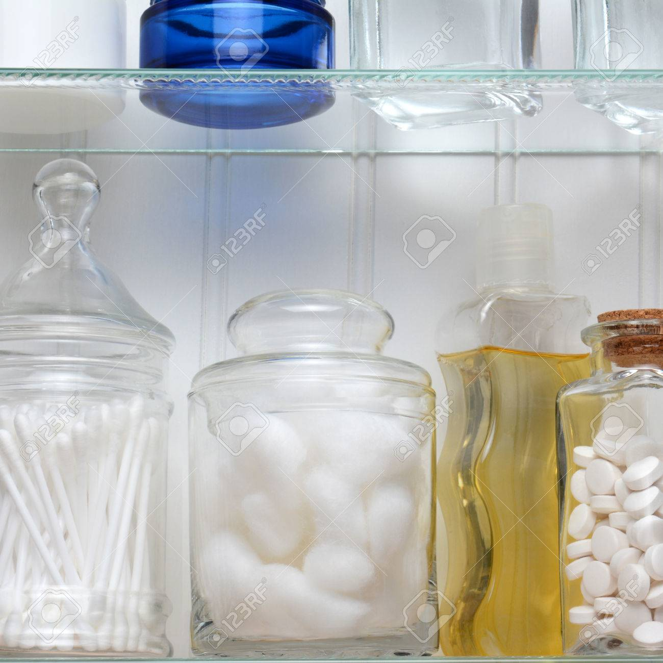 Closeup Of Two Shelves Of A Medicine Cabinet A Bottle Of Tablets Stock Photo Picture And Royalty Free Image Image 36813480