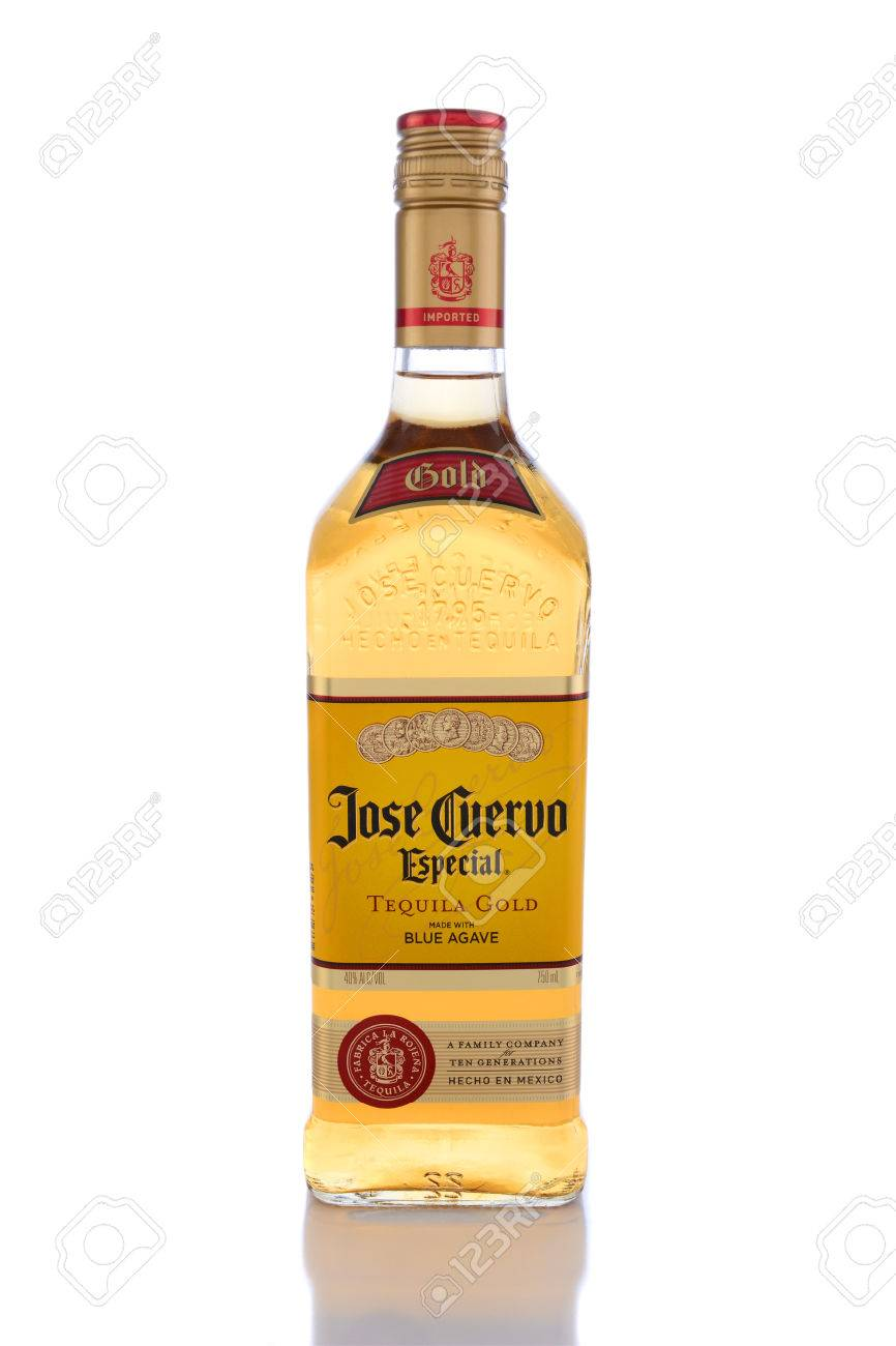 IRVINE, CA - JUNE 14, 2015: Jose Cuervo Especial Tequila Gold. Founded in 1795 by Don Jose Antonio de Cuervo, it is the best selling Blue Agave Tequila in the world. - 41006451
