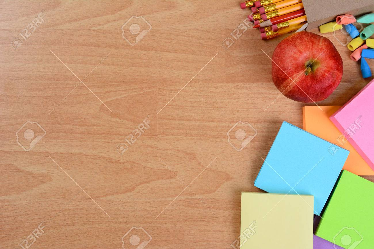 Delicieux High Angle Back To School Still Life On Top Of A Wood Teachers Desk. An