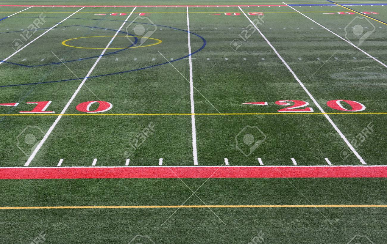 Closeup Of The Yardage Markers On A Football Field The Numbers