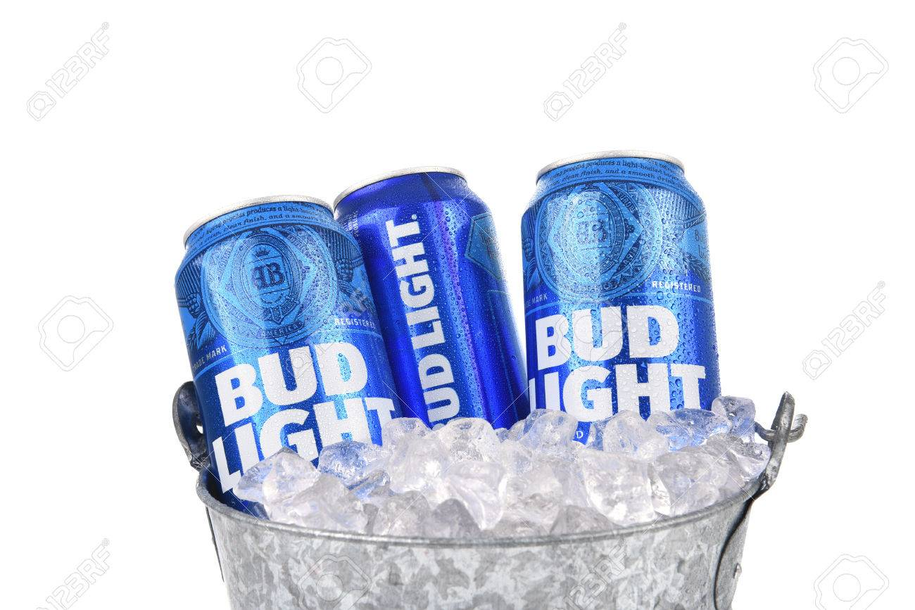 IRVINE, CALIFORNIA   AUGUST 25, 2016: Bud Light Cans In Ice Bucket. Pictures
