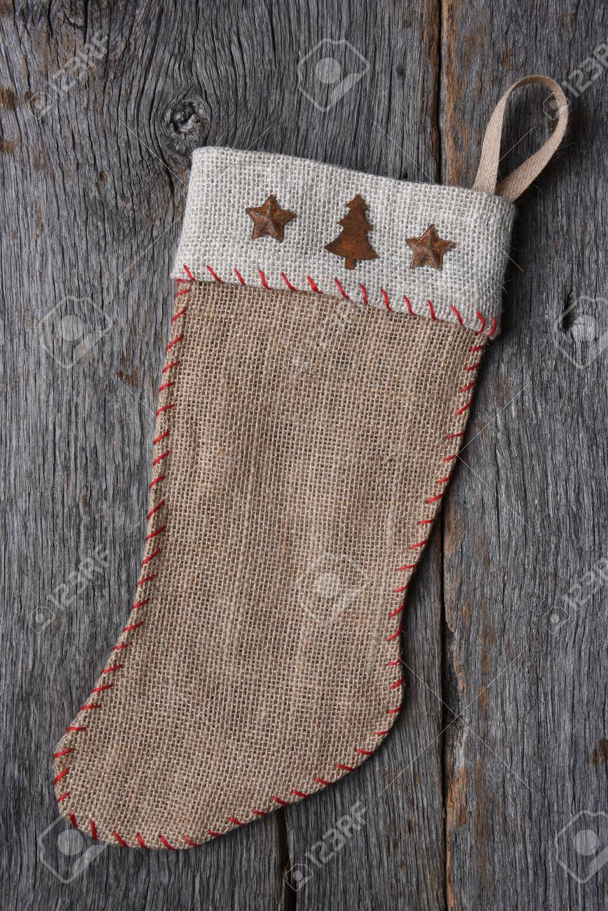 An Old Fashioned Homemade Rustic Burlap Christmas Stocking On ...