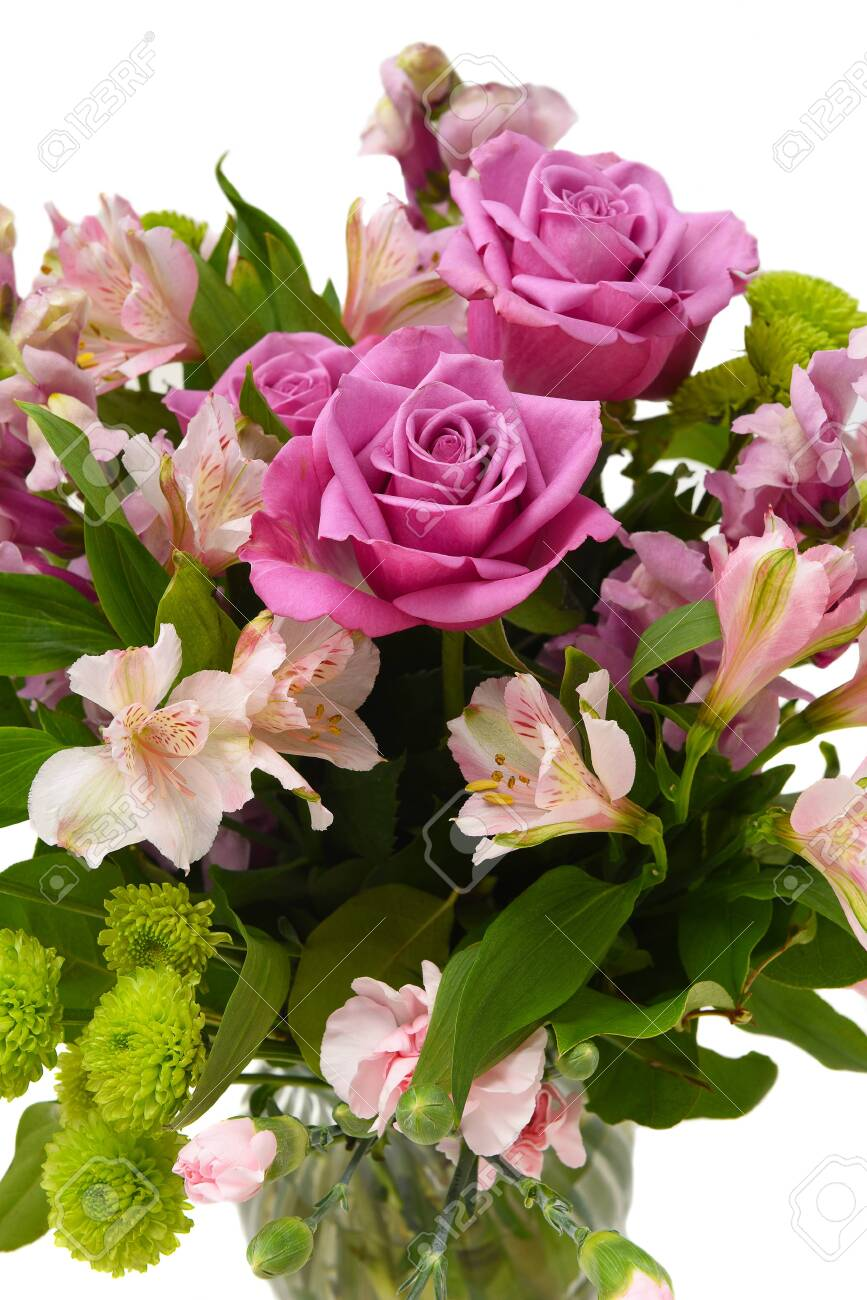 Closeup Of A Beautiful Floral Arrangement For Mothers Day Or