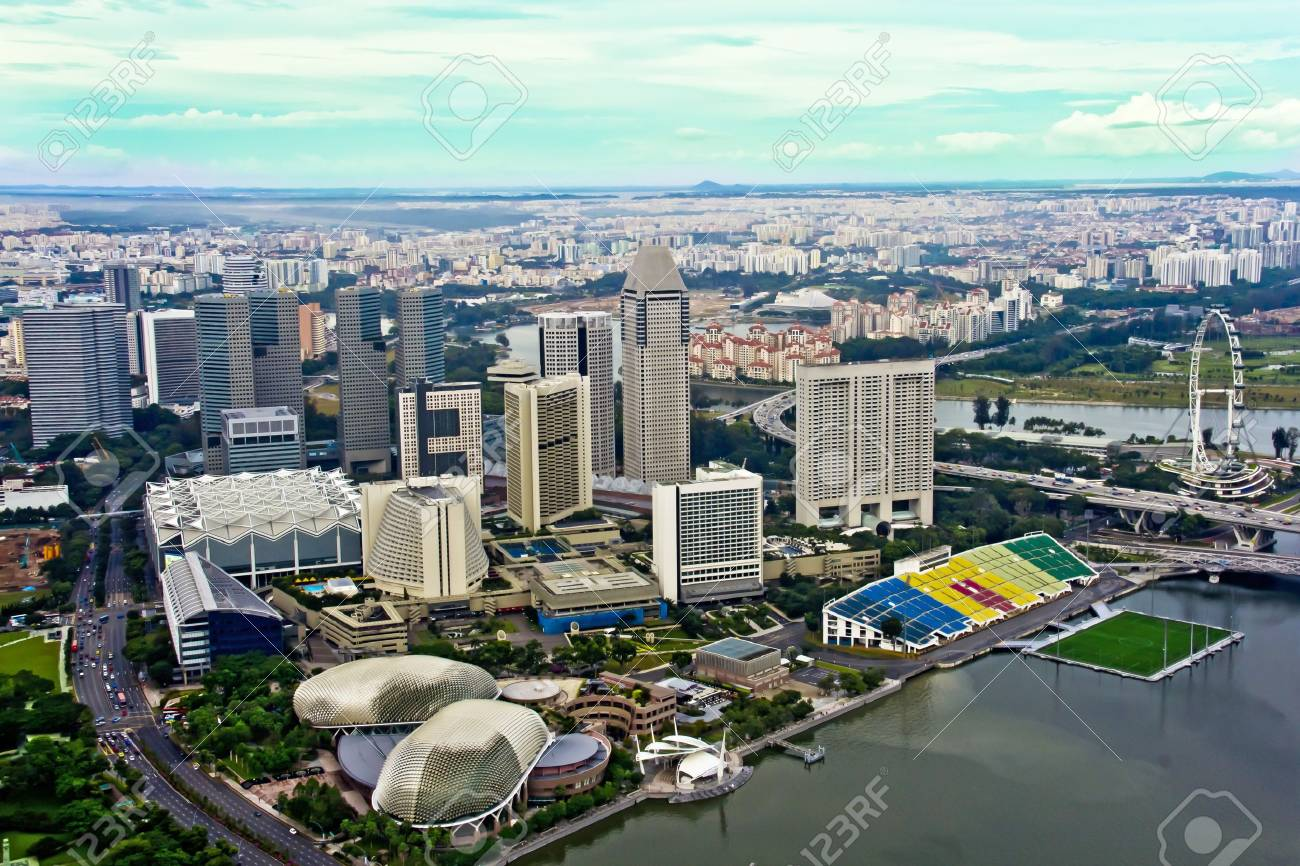 Singapore skyline aerial shot Stock Photo - 10228665