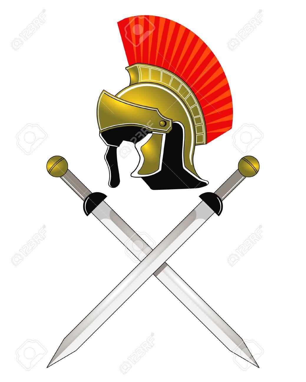Roman Helmet and swords Stock Vector - 7586782