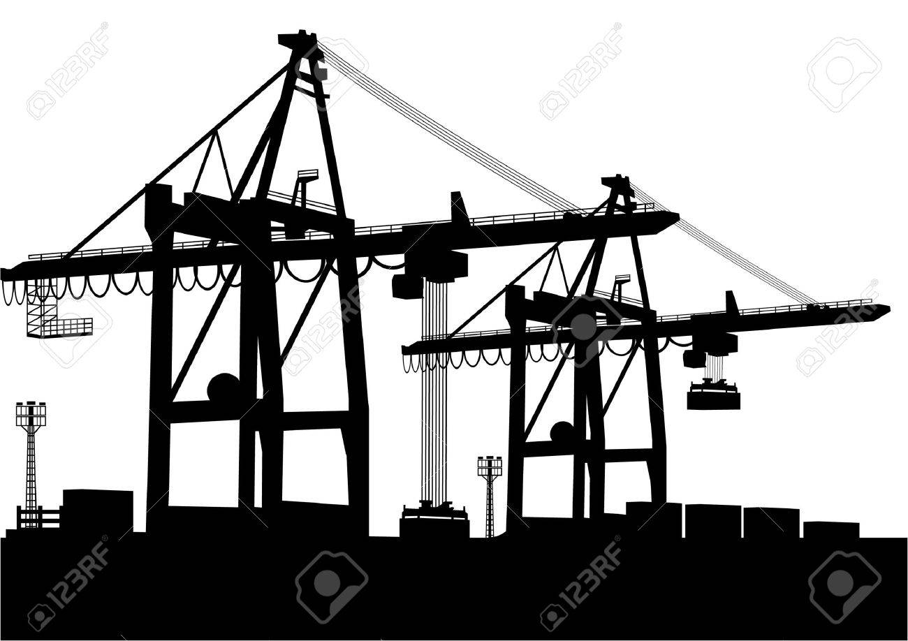Container-Terminal Stock Vector - 8752833