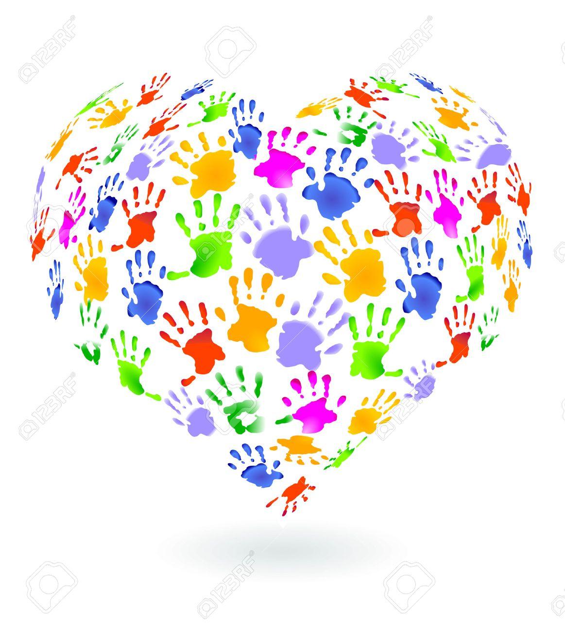 Kids hands prints sign Stock Vector - 8864527