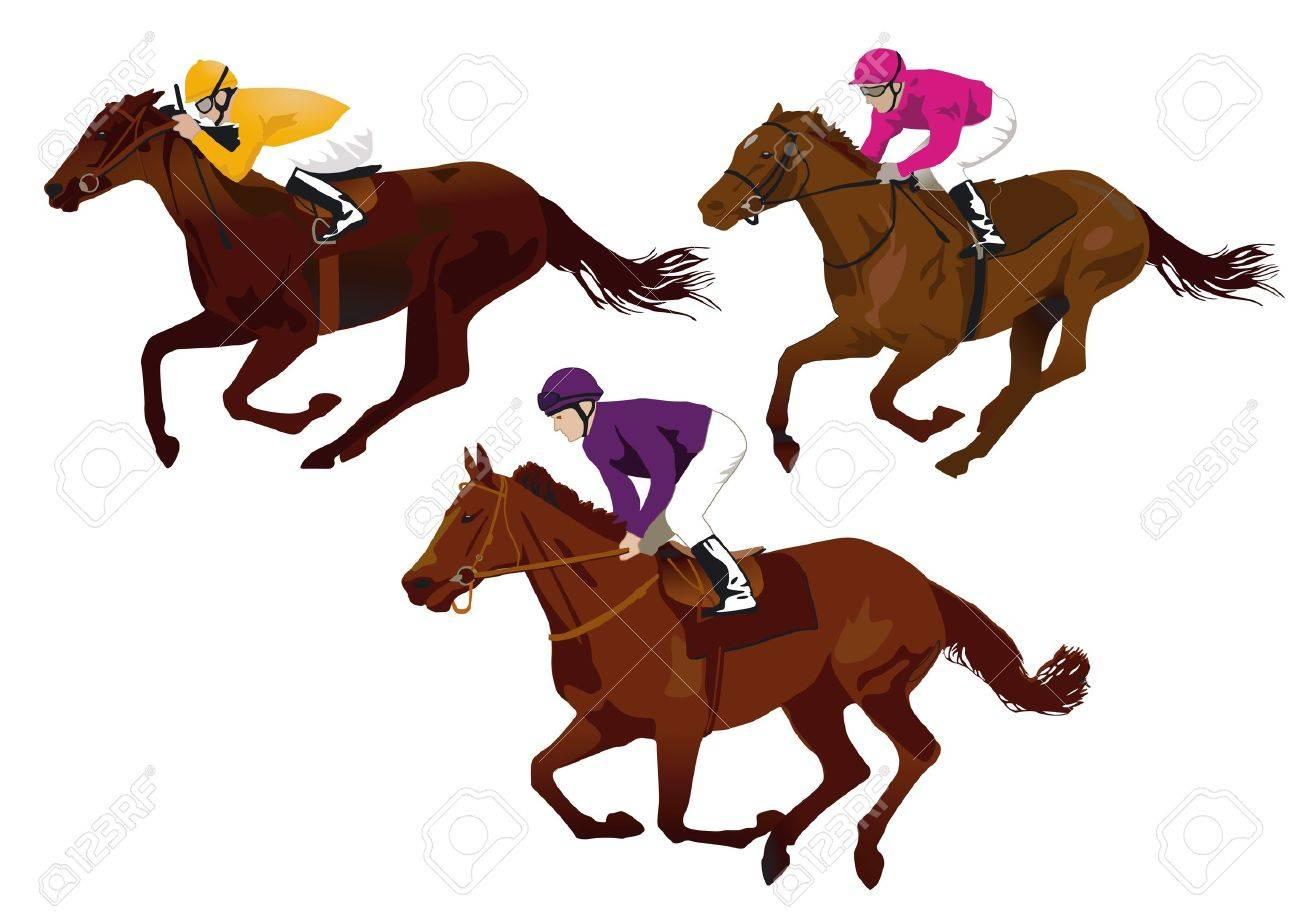 jockeys at the races Stock Vector - 11295255