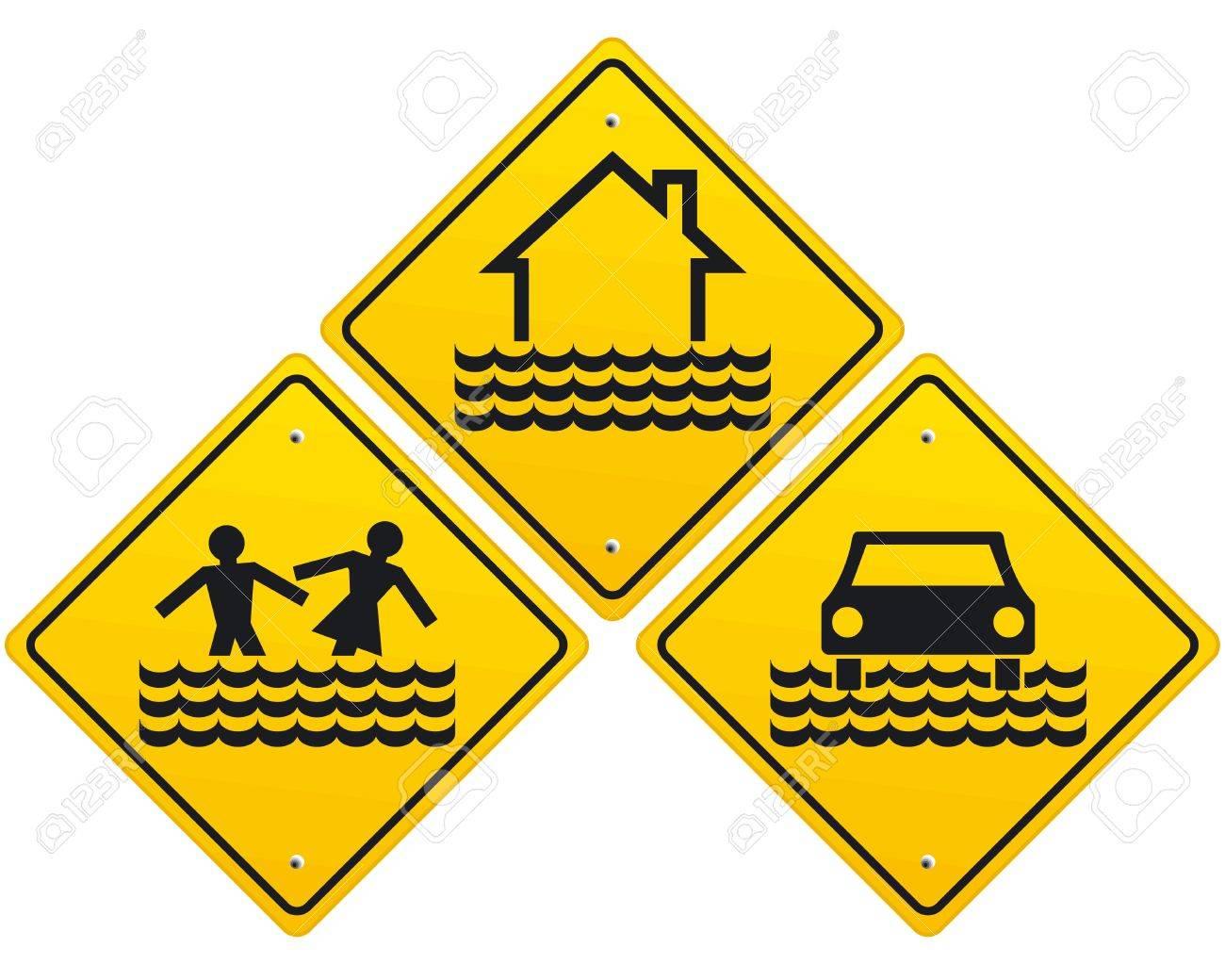 Flood warning sign Stock Vector - 11464551