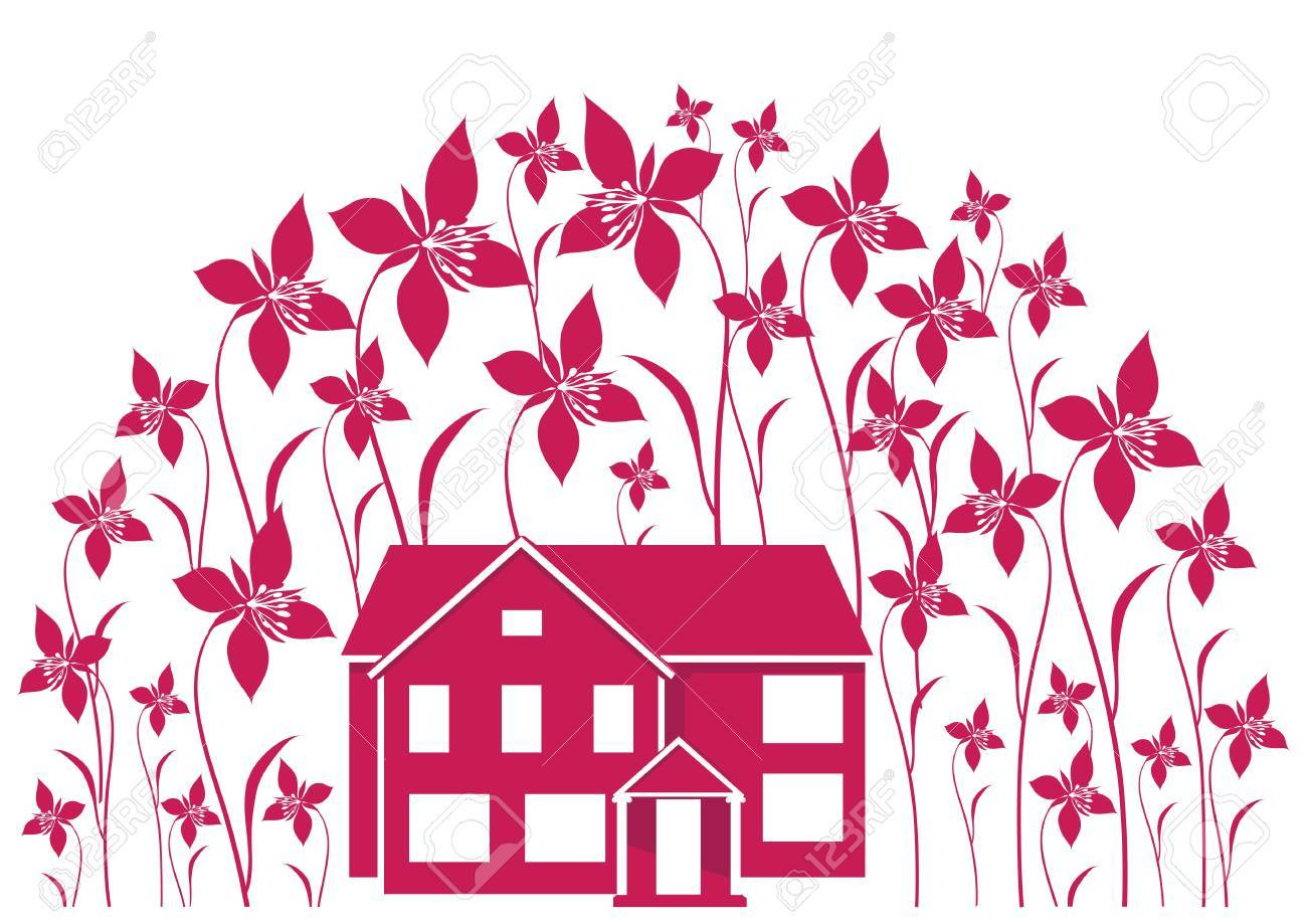 House and flowers Stock Vector - 11981378