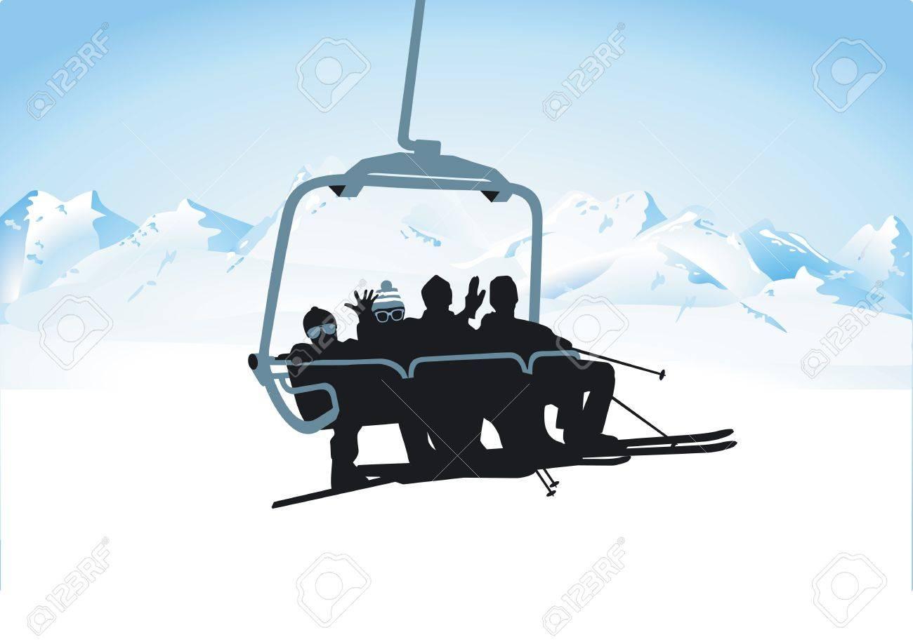 chairlift Stock Vector - 12385221