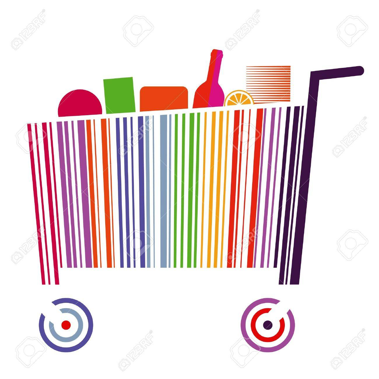 Bar code cart Stock Vector - 17854648