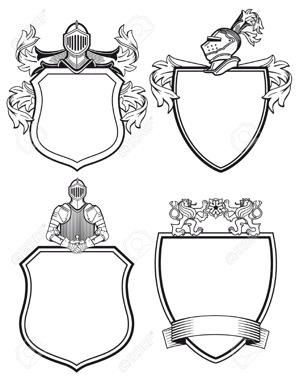 knight shields and crests royalty free cliparts vectors and