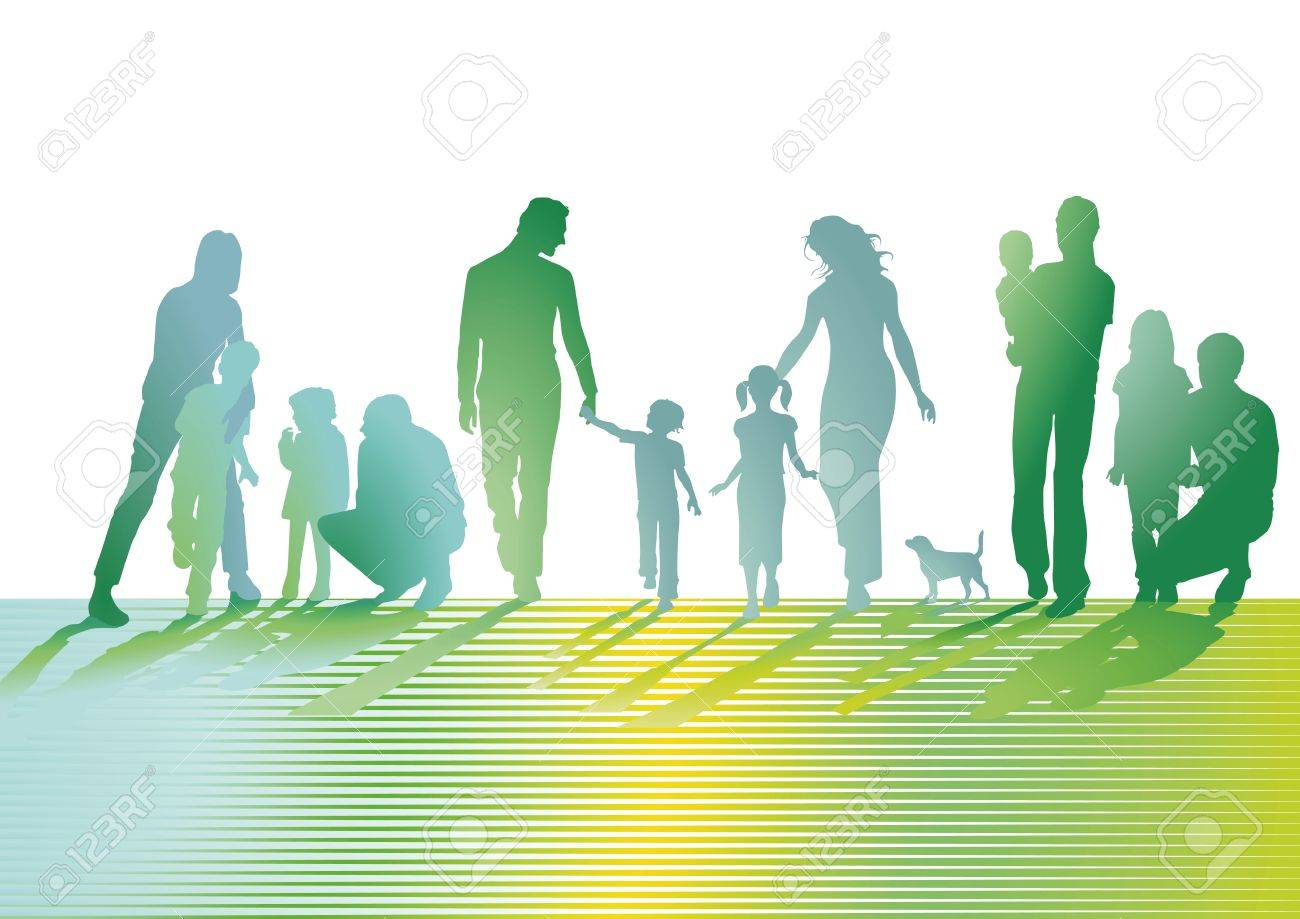 Families on the lawn Stock Vector - 18257686